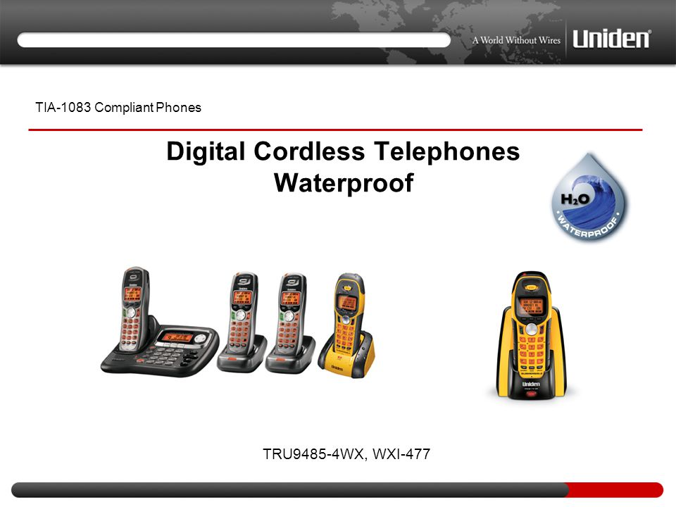 Digital Cordless Telephones Waterproof TIA-1083 Compliant Phones TRU9485-4WX, WXI-477