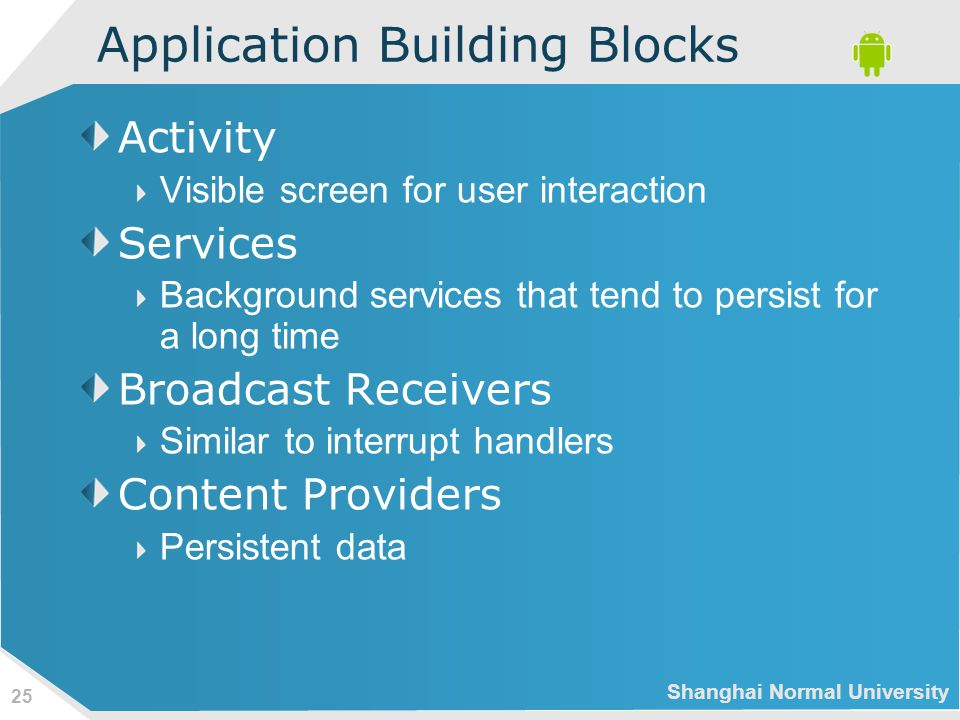 Shanghai Normal University 25 Application Building Blocks Activity Visible screen for user interaction Services Background services that tend to persist for a long time Broadcast Receivers Similar to interrupt handlers Content Providers Persistent data