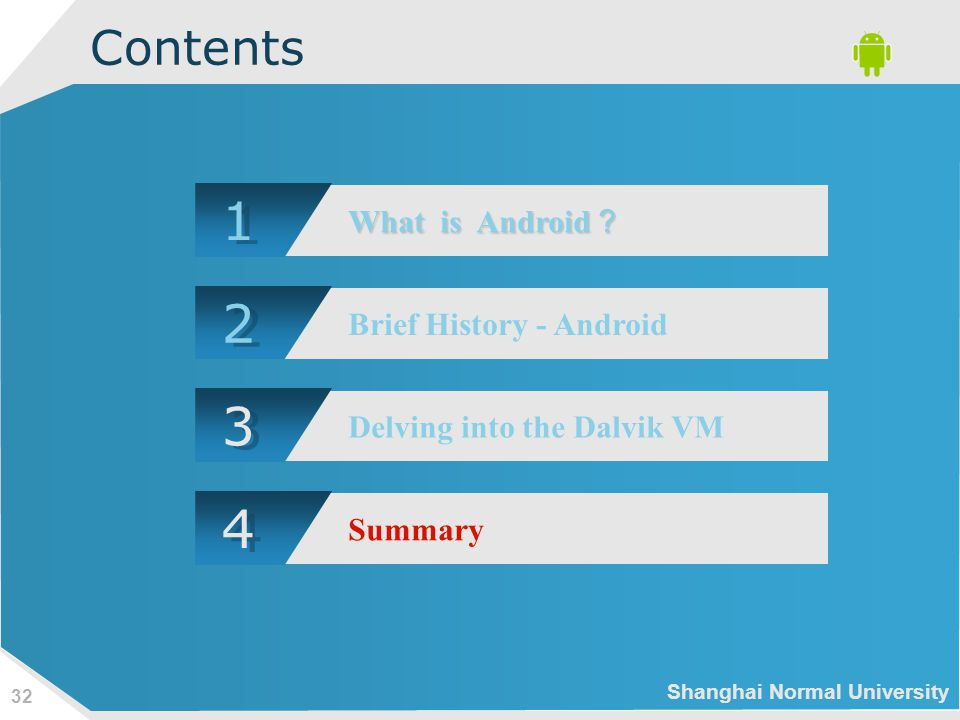 Shanghai Normal University 32 Contents 1 1 What is Android ? 2 2 Brief History - Android 3 3 Delving into the Dalvik VM 4 4 Summary