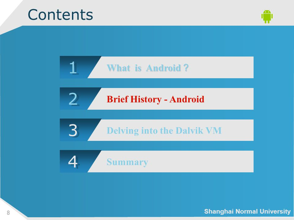 Shanghai Normal University 9 Brief History - Android 2005 Google acquires startup Android Inc.