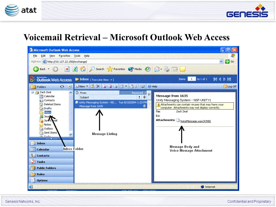 Genesis Networks, Inc. Confidential and Proprietary Voicemail Retrieval – Microsoft Outlook Web Access