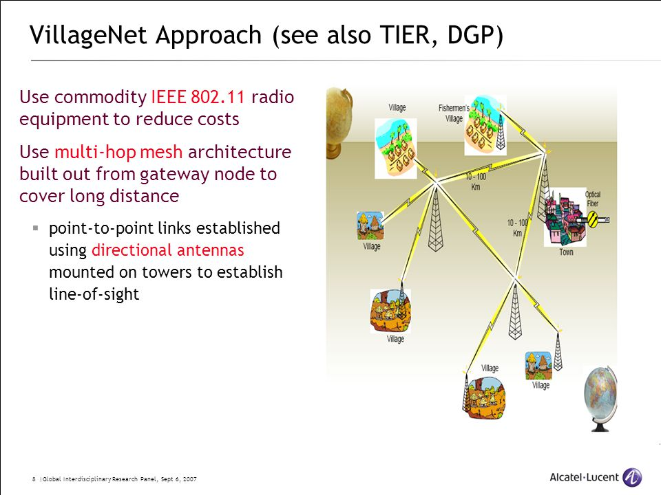 8 |Global Interdisciplinary Research Panel, Sept 6, 2007 VillageNet Approach (see also TIER, DGP) Use commodity IEEE 802.11 radio equipment to reduce costs Use multi-hop mesh architecture built out from gateway node to cover long distance  point-to-point links established using directional antennas mounted on towers to establish line-of-sight