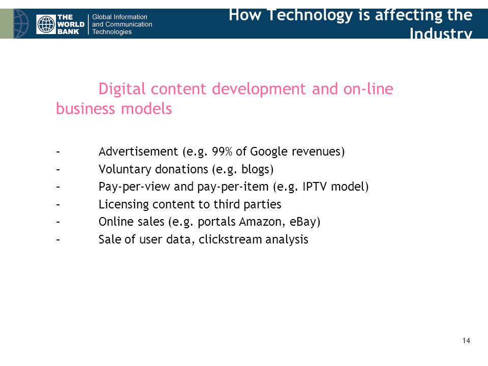 14 Digital content development and on-line business models –Advertisement (e.g.