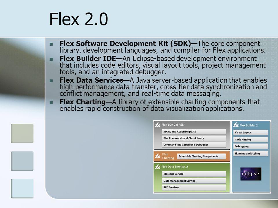 Flex 2.0 Flex Software Development Kit (SDK)—The core component library, development languages, and compiler for Flex applications.