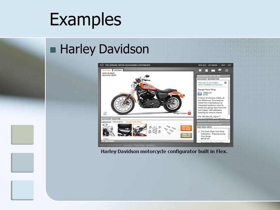 Examples Harley Davidson Harley Davidson motorcycle configurator built in Flex.
