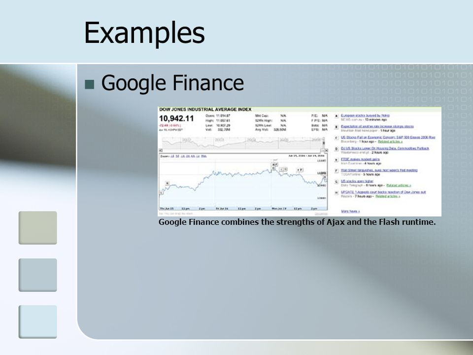 Examples Google Finance Google Finance combines the strengths of Ajax and the Flash runtime.