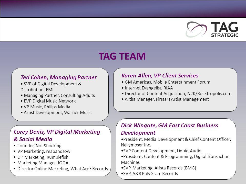 TAG TEAM Ted Cohen, Managing Partner SVP of Digital Development & Distribution, EMI Managing Partner, Consulting Adults EVP Digital Music Network VP M