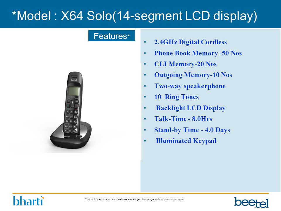 *Product Specification and features are subject to change without prior information Features * *Model : X64 Solo(14-segment LCD display) 2.4GHz Digita