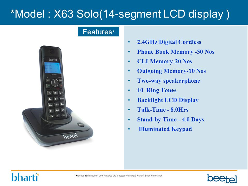 *Product Specification and features are subject to change without prior information Features * *Model : X63 Solo(14-segment LCD display ) 2.4GHz Digit