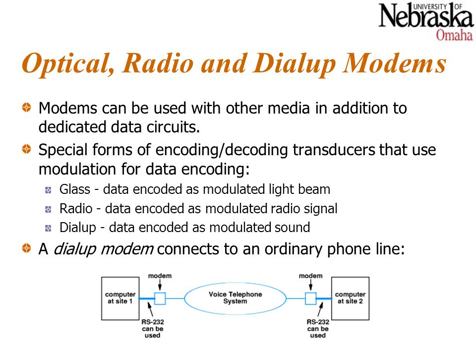 Optical, Radio and Dialup Modems Modems can be used with other media in addition to dedicated data circuits.