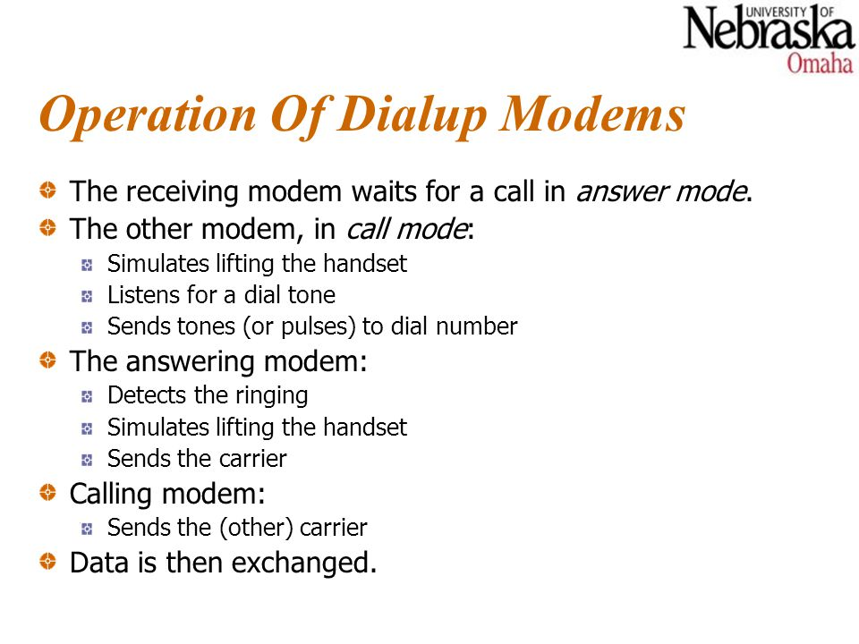 Operation Of Dialup Modems The receiving modem waits for a call in answer mode.