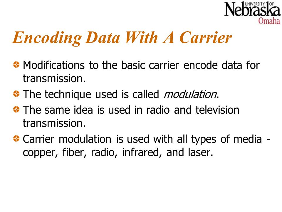 Encoding Data With A Carrier Modifications to the basic carrier encode data for transmission.