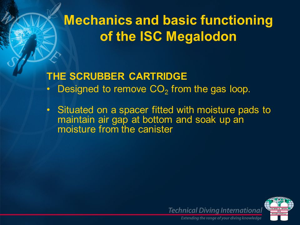 Mechanics and basic functioning of the ISC Megalodon THE SCRUBBER CARTRIDGE Designed to remove CO 2 from the gas loop.