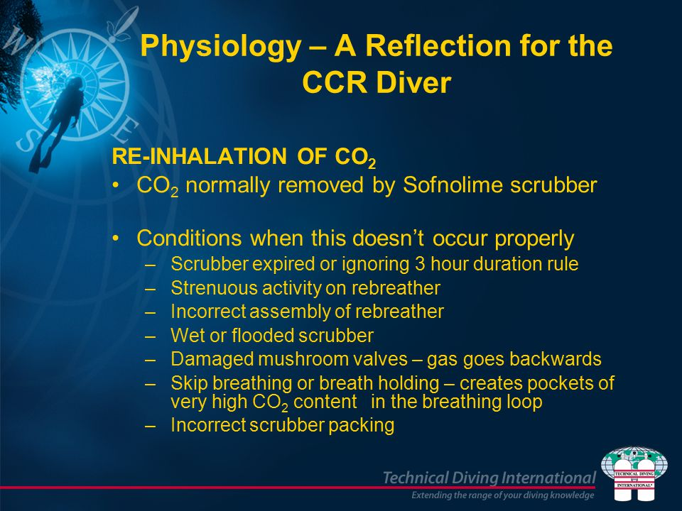 RE-INHALATION OF CO 2 CO 2 normally removed by Sofnolime scrubber Conditions when this doesn't occur properly –Scrubber expired or ignoring 3 hour duration rule –Strenuous activity on rebreather –Incorrect assembly of rebreather –Wet or flooded scrubber –Damaged mushroom valves – gas goes backwards –Skip breathing or breath holding – creates pockets of very high CO 2 content in the breathing loop –Incorrect scrubber packing Physiology – A Reflection for the CCR Diver