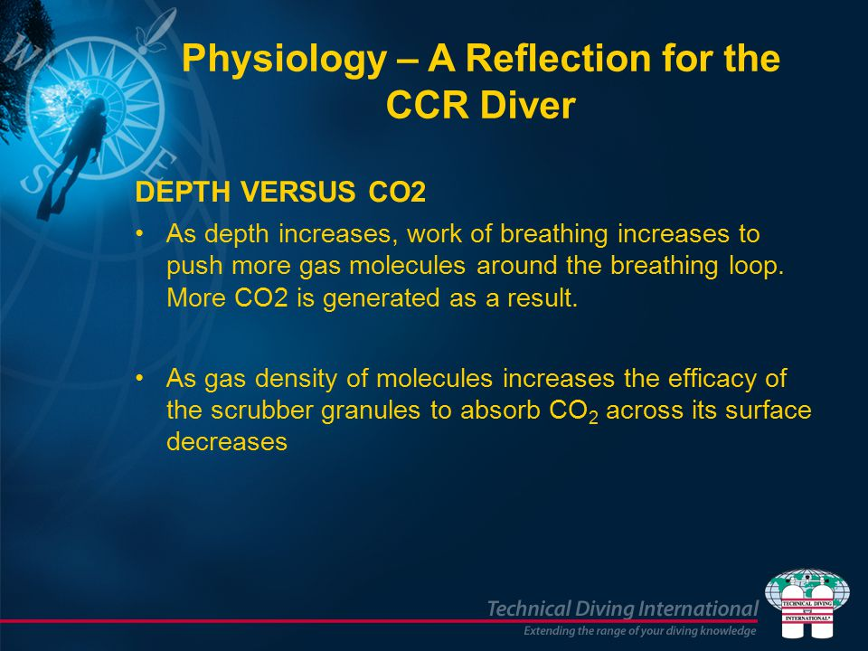 DEPTH VERSUS CO2 As depth increases, work of breathing increases to push more gas molecules around the breathing loop.