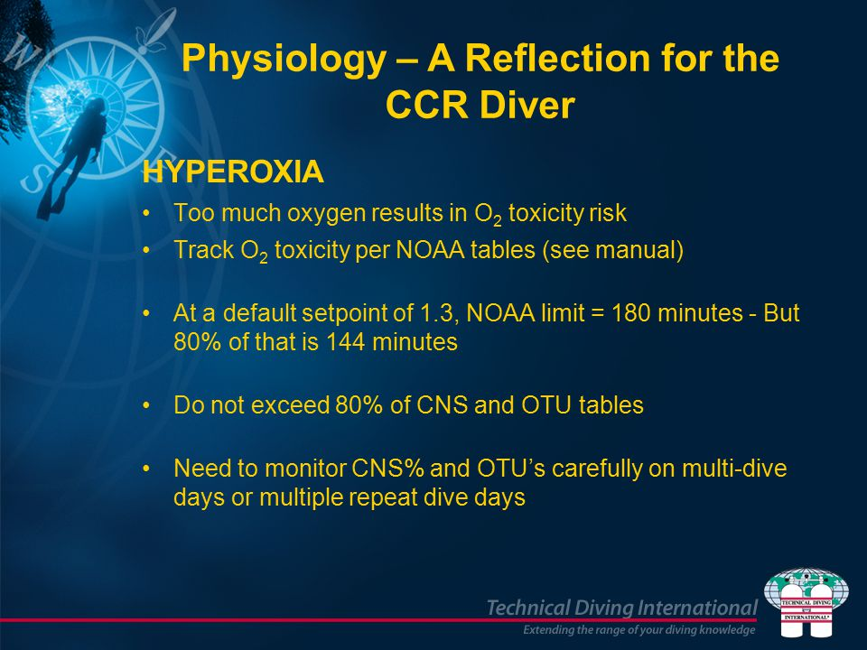 HYPEROXIA Too much oxygen results in O 2 toxicity risk Track O 2 toxicity per NOAA tables (see manual) At a default setpoint of 1.3, NOAA limit = 180 minutes - But 80% of that is 144 minutes Do not exceed 80% of CNS and OTU tables Need to monitor CNS% and OTU's carefully on multi-dive days or multiple repeat dive days Physiology – A Reflection for the CCR Diver