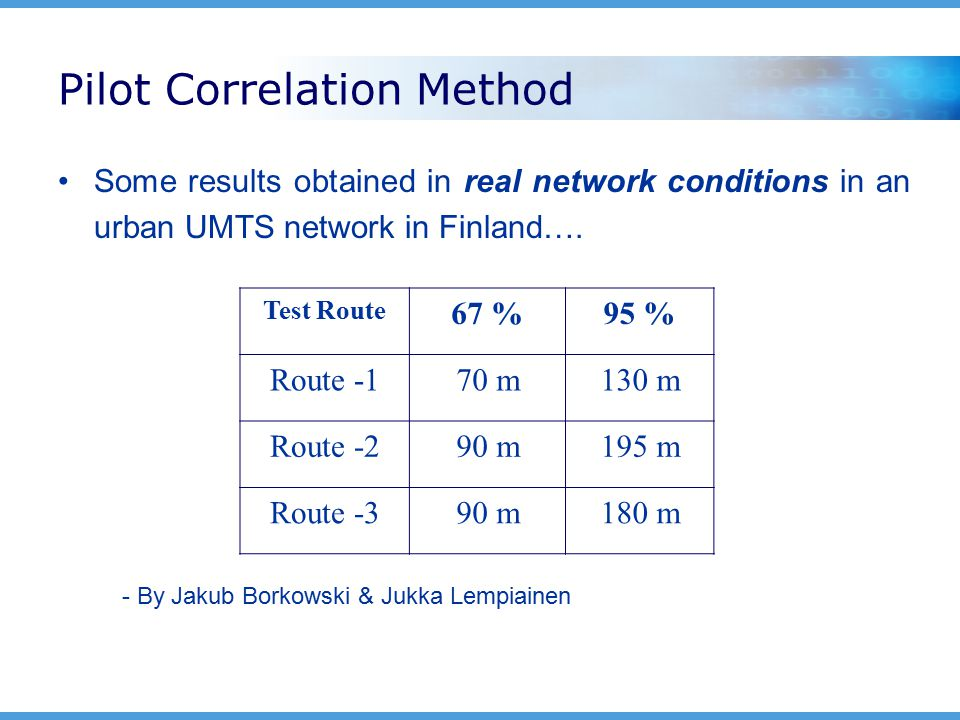 Pilot Correlation Method Some results obtained in real network conditions in an urban UMTS network in Finland….