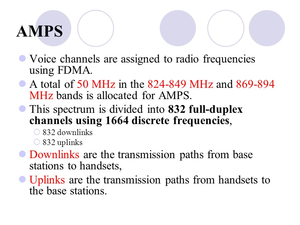 AMPS Voice channels are assigned to radio frequencies using FDMA.