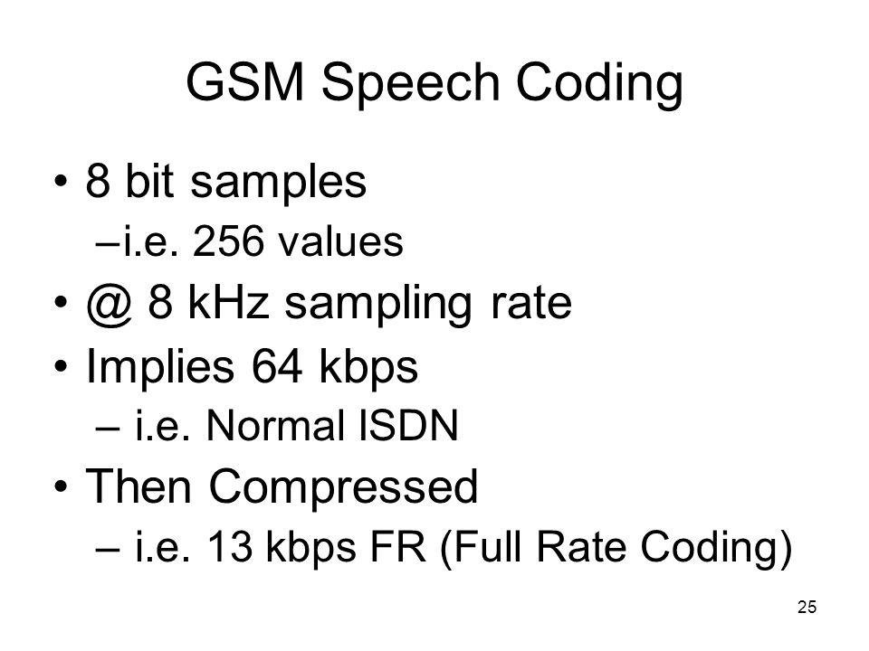 25 GSM Speech Coding 8 bit samples –i.e. 256 values @ 8 kHz sampling rate Implies 64 kbps – i.e.