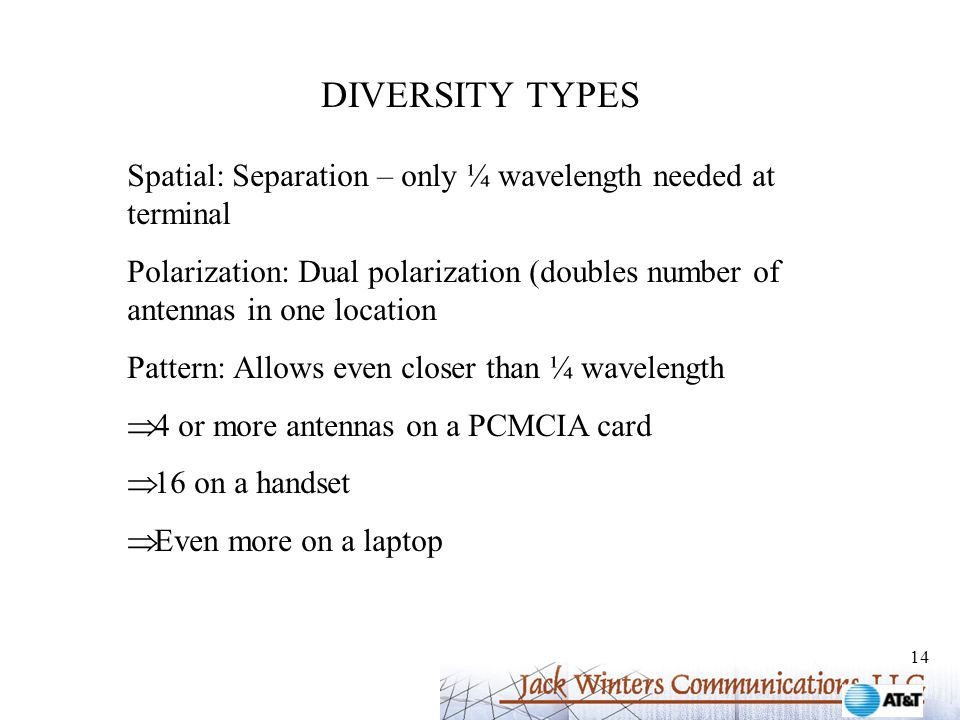 14 DIVERSITY TYPES Spatial: Separation – only ¼ wavelength needed at terminal Polarization: Dual polarization (doubles number of antennas in one location Pattern: Allows even closer than ¼ wavelength  4 or more antennas on a PCMCIA card  16 on a handset  Even more on a laptop