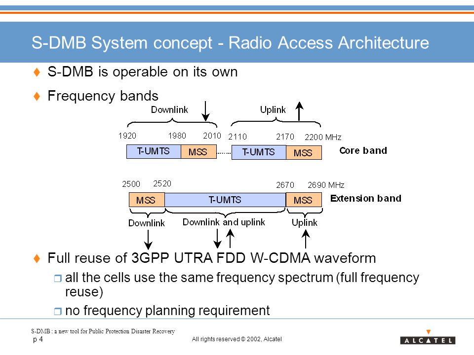 S-DMB : a new tool for Public Protection Disaster Recovery p 4 All rights reserved © 2002, Alcatel S-DMB System concept - Radio Access Architecture  S-DMB is operable on its own  Frequency bands  Full reuse of 3GPP UTRA FDD W-CDMA waveform  all the cells use the same frequency spectrum (full frequency reuse)  no frequency planning requirement