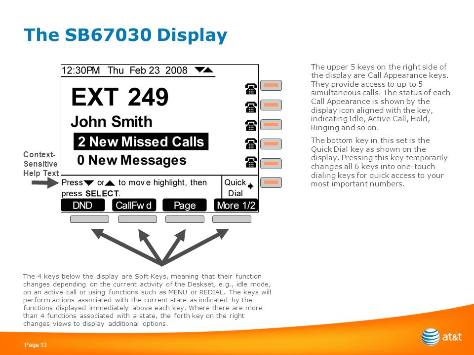 Page 13 The SB67030 Display Context- Sensitive Help Text The 4 keys below the display are Soft Keys, meaning that their function changes depending on