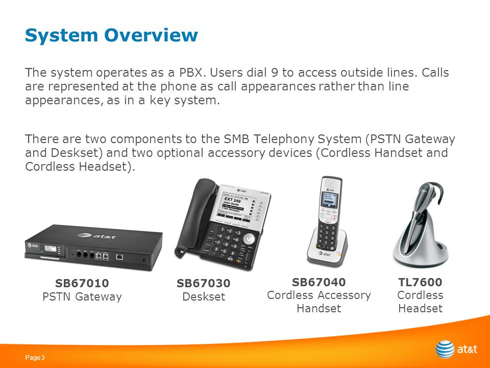 Page 3 System Overview The system operates as a PBX. Users dial 9 to access outside lines. Calls are represented at the phone as call appearances rath