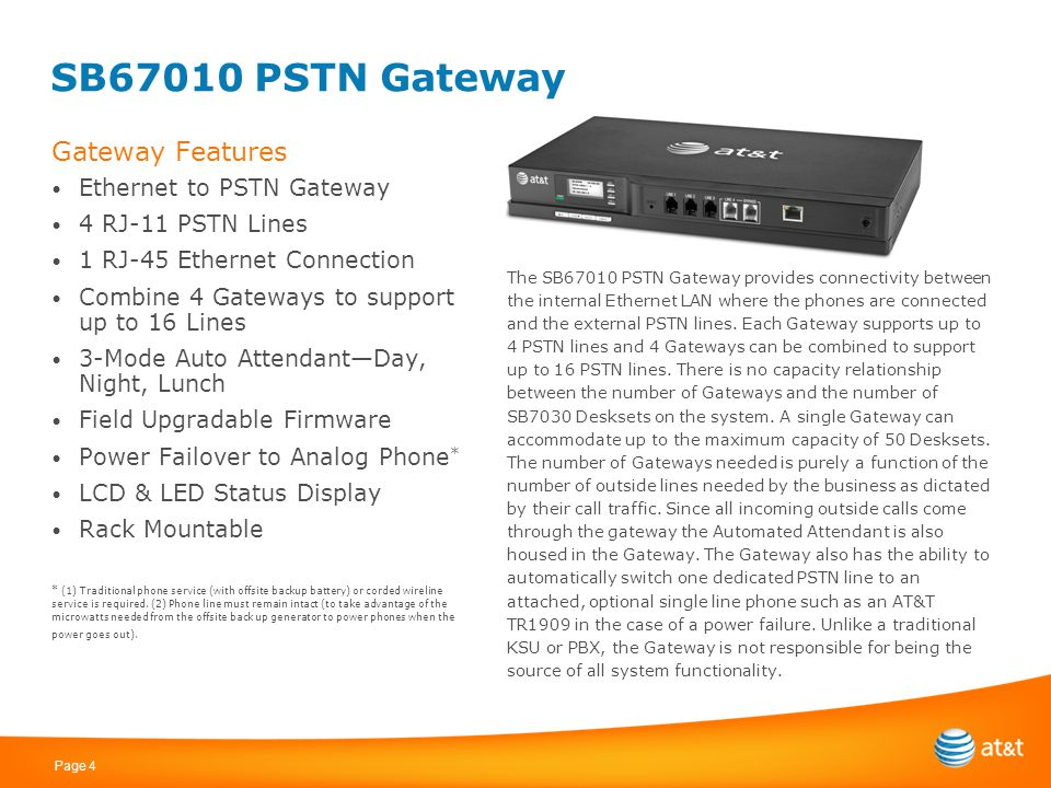 Page 4 SB67010 PSTN Gateway Gateway Features Ethernet to PSTN Gateway 4 RJ-11 PSTN Lines 1 RJ-45 Ethernet Connection Combine 4 Gateways to support up