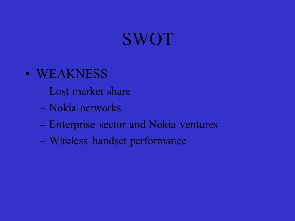 SWOT STRENGTH –Product development –Market leadership –Strong brand –Lost cost production