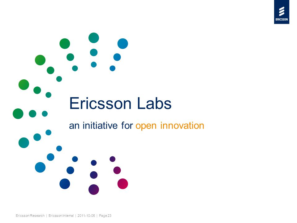 Slide title minimum 48 pt Slide subtitle minimum 30 pt Ericsson Research | Ericsson Internal | 2011-10-05 | Page 23 Ericsson Labs an initiative for open innovation