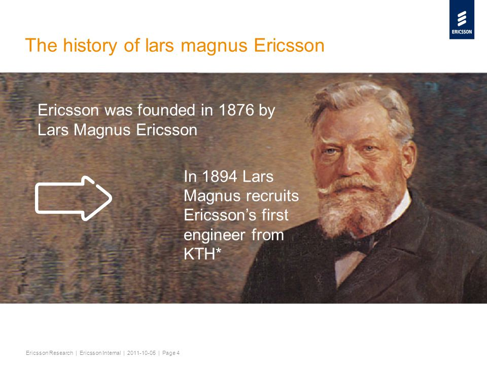 Slide title minimum 48 pt Slide subtitle minimum 30 pt Ericsson Research | Ericsson Internal | 2011-10-05 | Page 4 The history of lars magnus Ericsson Ericsson was founded in 1876 by Lars Magnus Ericsson In 1894 Lars Magnus recruits Ericsson's first engineer from KTH* *Then Tekniska Högskolan