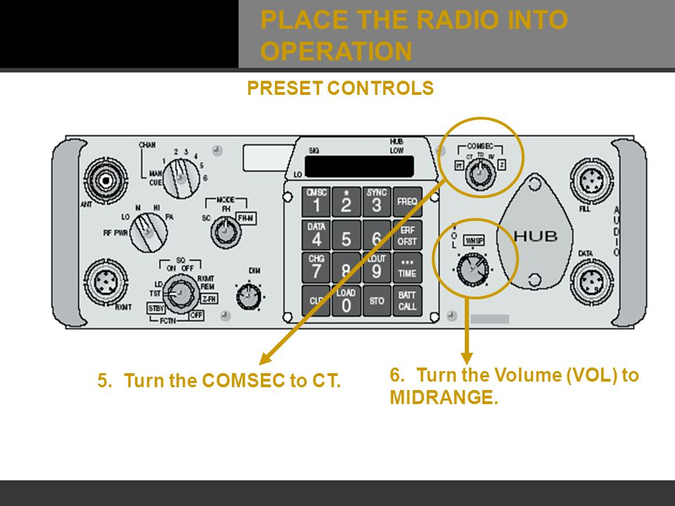 5. Turn the COMSEC to CT. 6. Turn the Volume (VOL) to MIDRANGE. PRESET CONTROLS PLACE THE RADIO INTO OPERATION