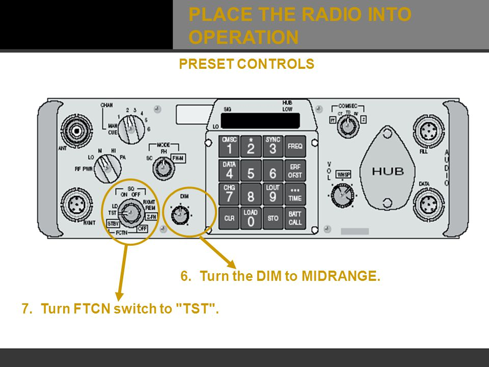 6. Turn the DIM to MIDRANGE. 7. Turn FTCN switch to