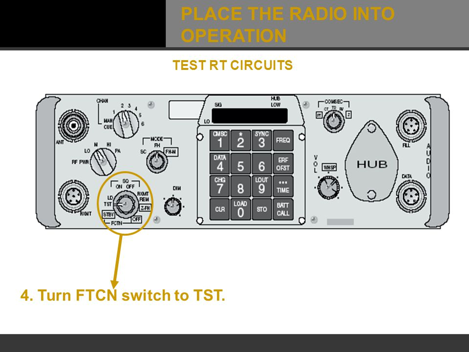 4. Turn FTCN switch to TST. TEST RT CIRCUITS PLACE THE RADIO INTO OPERATION