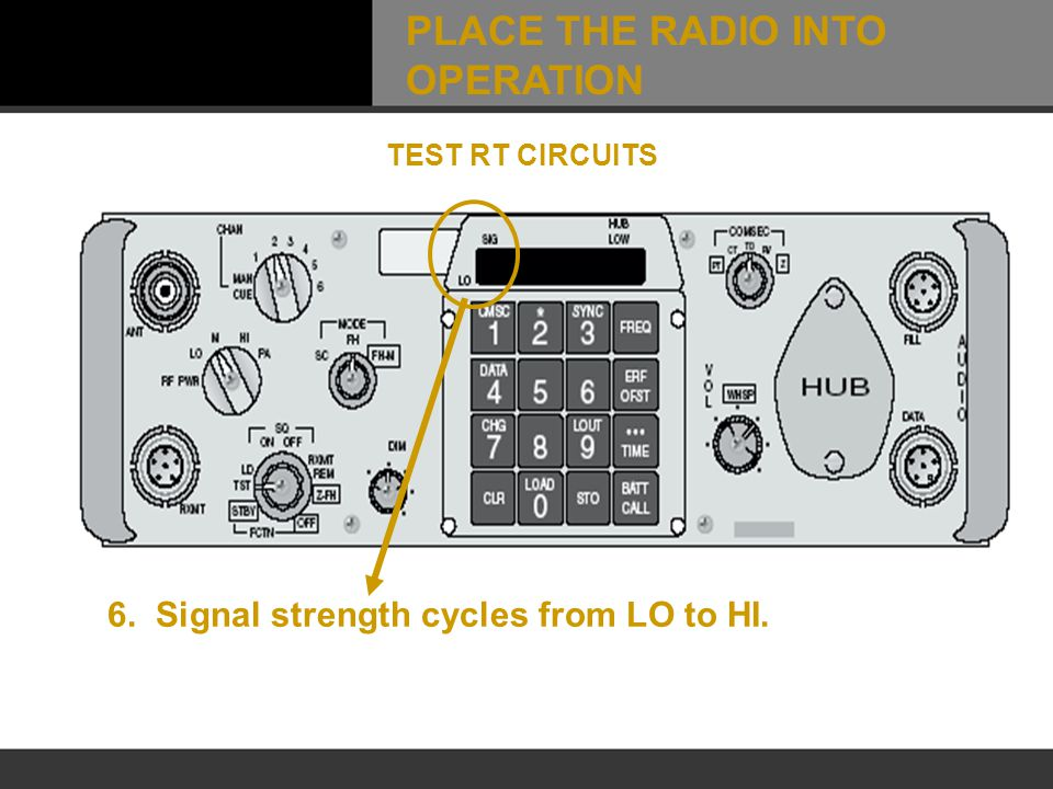 6. Signal strength cycles from LO to HI. TEST RT CIRCUITS PLACE THE RADIO INTO OPERATION