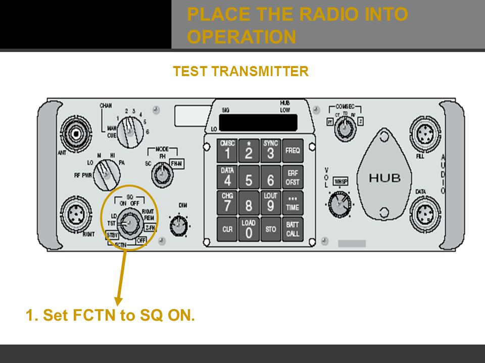 1. Set FCTN to SQ ON. TEST TRANSMITTER PLACE THE RADIO INTO OPERATION