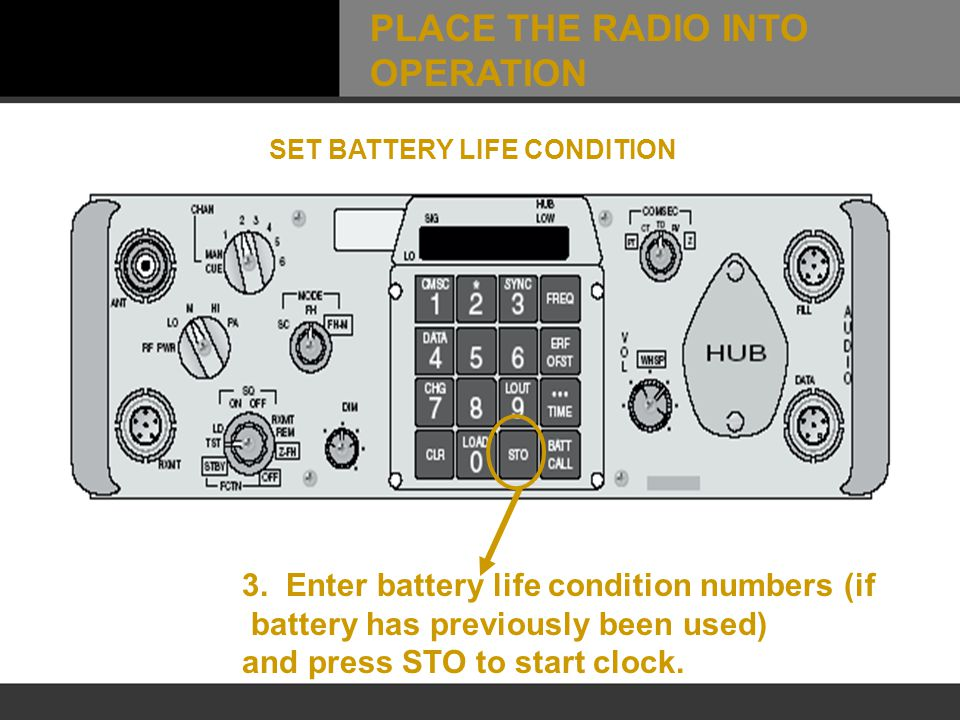 3. Enter battery life condition numbers (if battery has previously been used) and press STO to start clock. SET BATTERY LIFE CONDITION PLACE THE RADIO