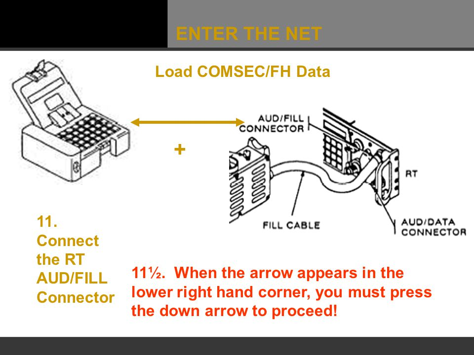 ENTER THE NET Load COMSEC/FH Data 11. Connect the RT AUD/FILL Connector + 11½. When the arrow appears in the lower right hand corner, you must press t