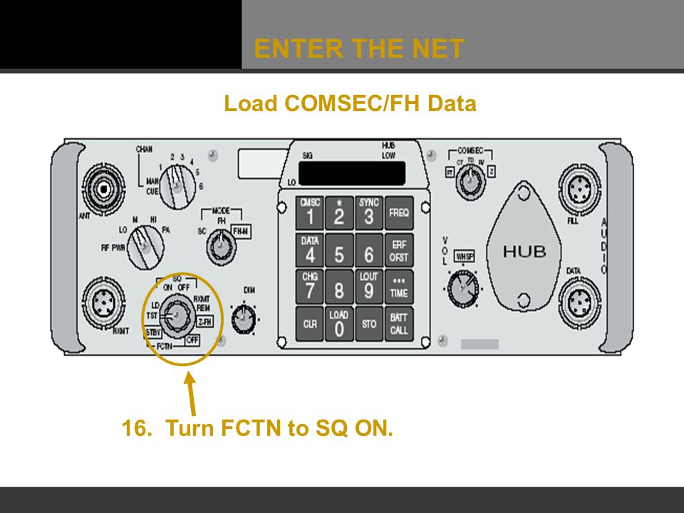 ENTER THE NET Load COMSEC/FH Data 16. Turn FCTN to SQ ON.