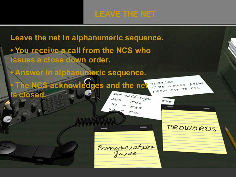 Leave the net in alphanumeric sequence. You receive a call from the NCS who issues a close down order. Answer in alphanumeric sequence. The NCS acknow