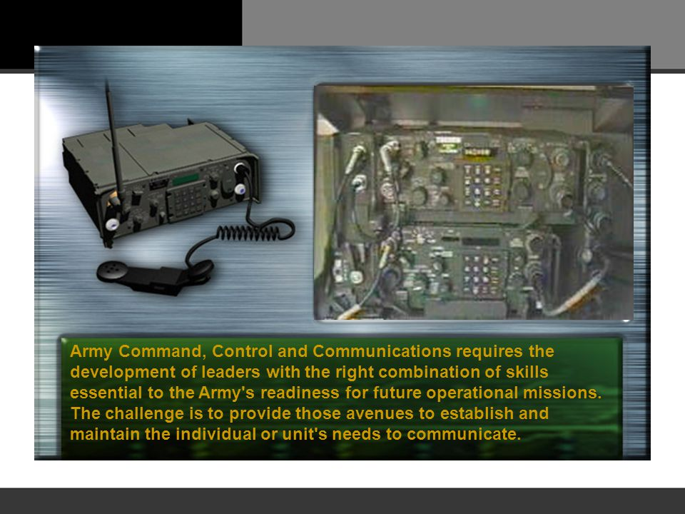 Army Command, Control and Communications requires the development of leaders with the right combination of skills essential to the Army's readiness fo