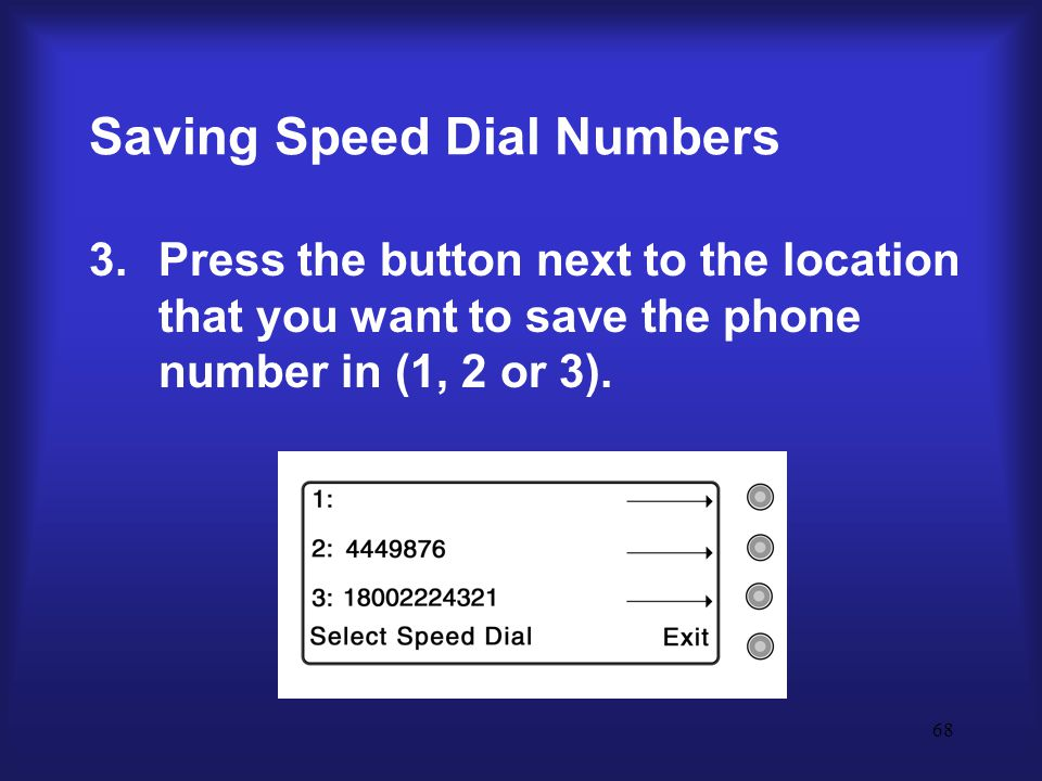 68 Saving Speed Dial Numbers 3.Press the button next to the location that you want to save the phone number in (1, 2 or 3).