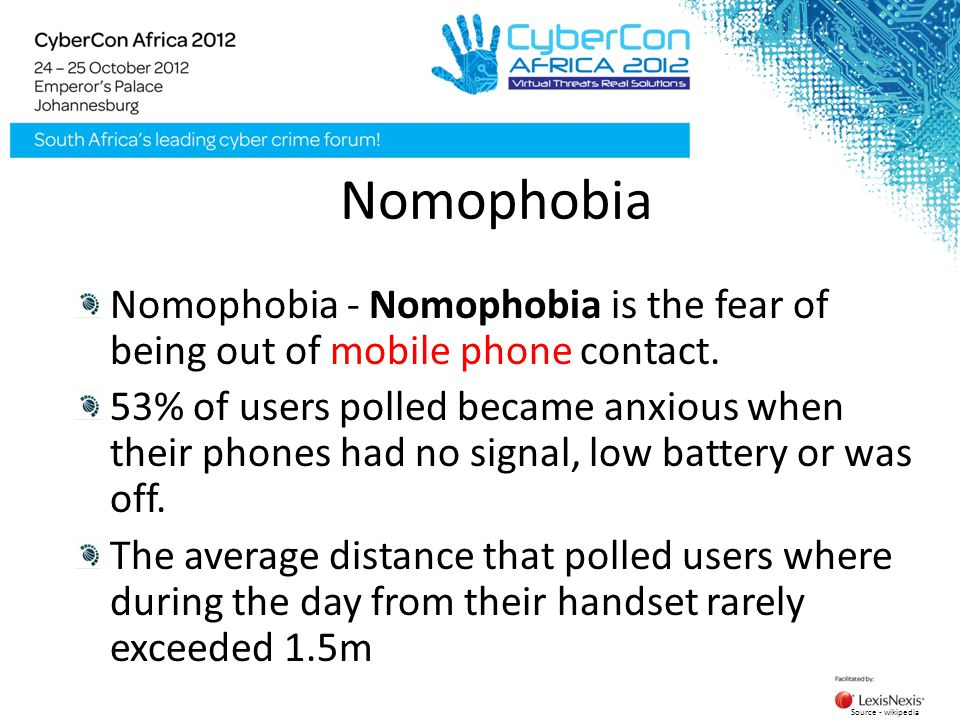Nomophobia Nomophobia - Nomophobia is the fear of being out of mobile phone contact. 53% of users polled became anxious when their phones had no signa