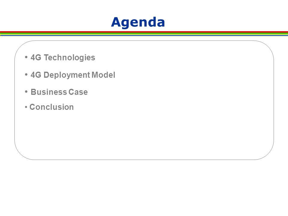 Agenda 4G Technologies 4G Deployment Model Business Case Conclusion