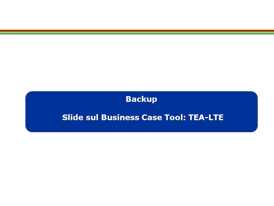 Backup Slide sul Business Case Tool: TEA-LTE