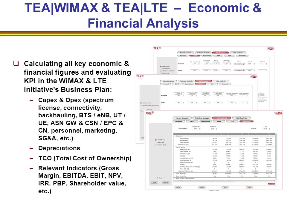 TEA|WIMAX & TEA|LTE – Economic & Financial Analysis  Calculating all key economic & financial figures and evaluating KPI in the WiMAX & LTE initiativ