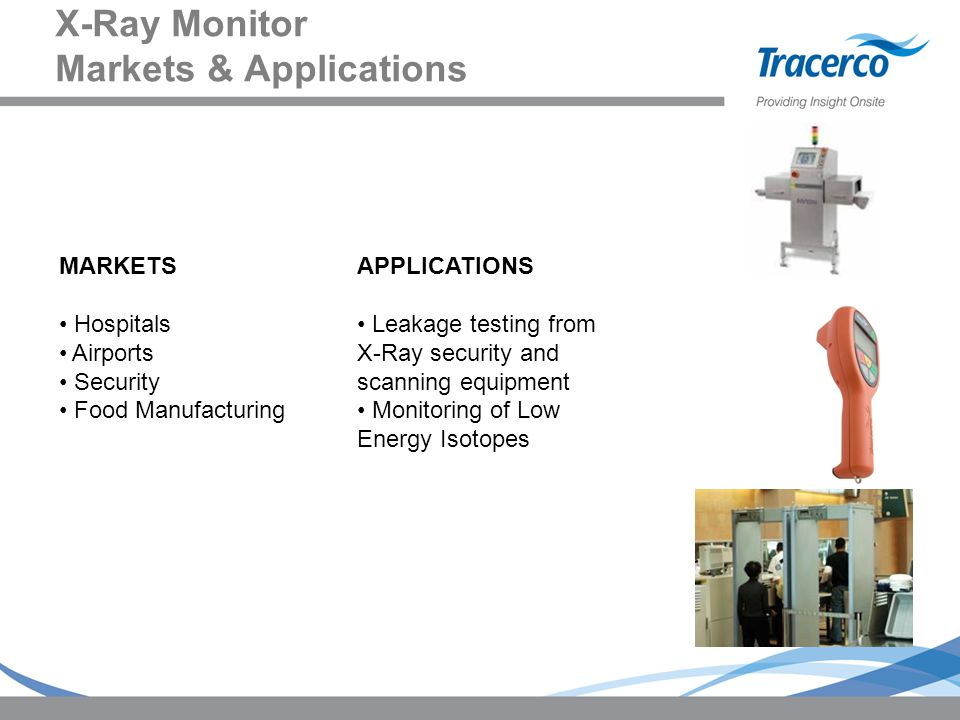 X-Ray Monitor Markets & Applications MARKETS Hospitals Airports Security Food Manufacturing APPLICATIONS Leakage testing from X-Ray security and scann