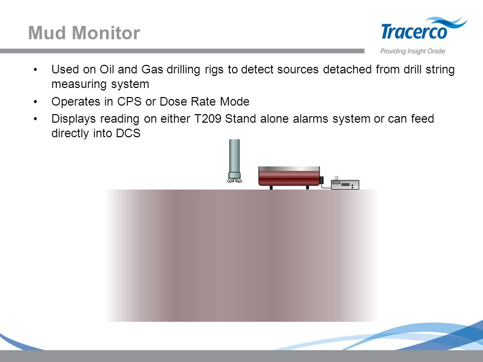 Mud Monitor Used on Oil and Gas drilling rigs to detect sources detached from drill string measuring system Operates in CPS or Dose Rate Mode Displays