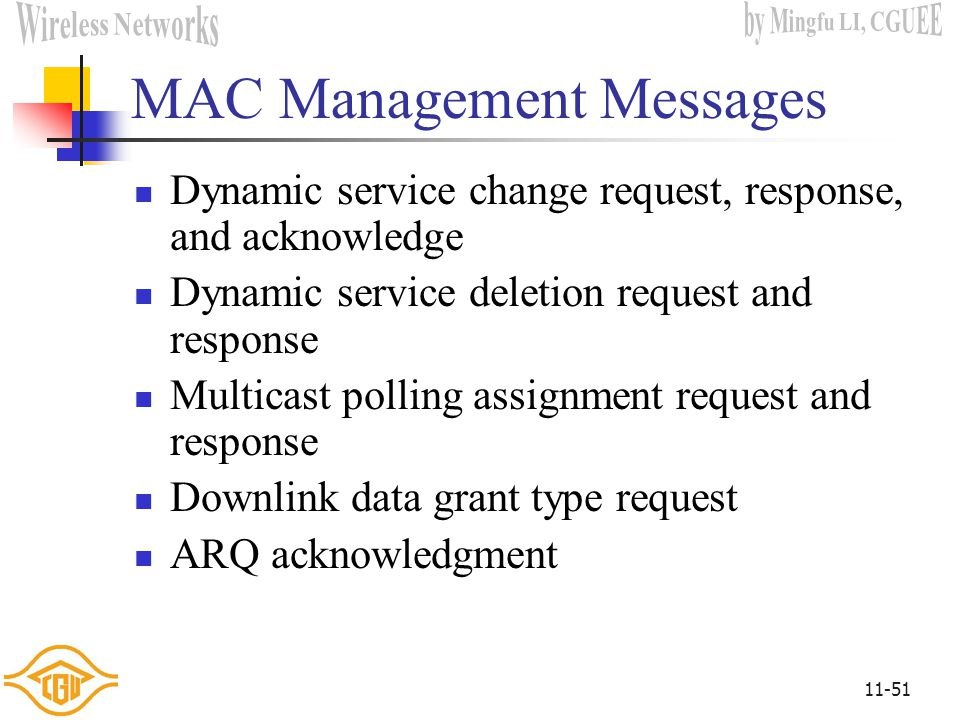 11-50 MAC Management Messages Uplink and downlink channel descriptor Uplink and downlink access definition Ranging request and response Registration r