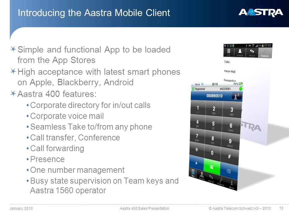 © Aastra Telecom Schweiz AG – 2013 Simple and functional App to be loaded from the App Stores High acceptance with latest smart phones on Apple, Black